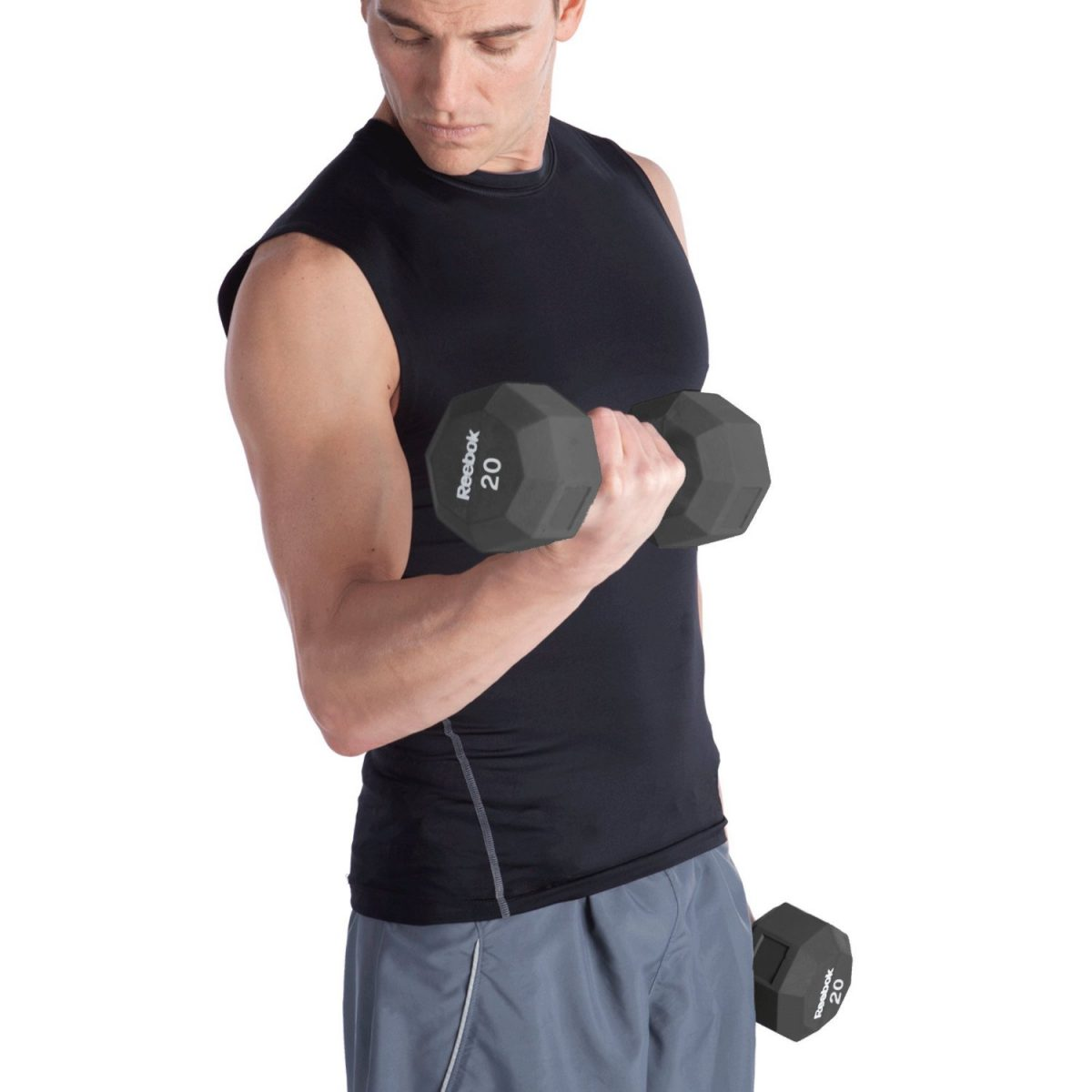 Reebok Rubber Hex Dumbbell arm curl
